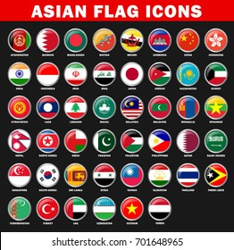 Asian Countries Flag Icons Vector