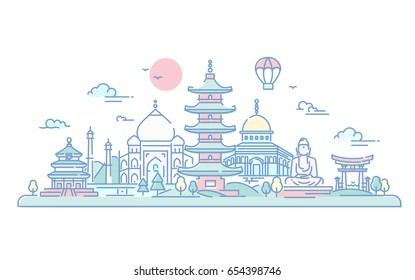 Asian Countries - modern vector line travel illustration. Discover India, Japan. Have a trip, enjoy your vacation. World famous landmarks - buddha , torii, mosque, Taj mahal