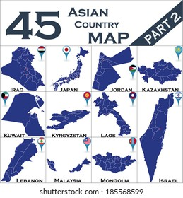 Asian country set with map pointers - Part 2