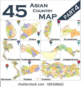 Asian country set with map pointers - Part 4