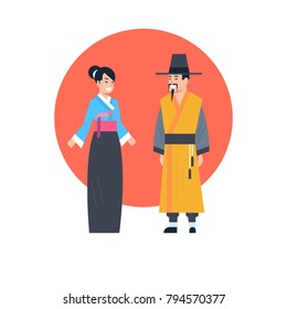 c2d60019ced6f Asian Couple Wearing Ancient Costume Isolated Asian Dress Collection Korea  Traditional Clothes Concept Flat Vector Illustration
