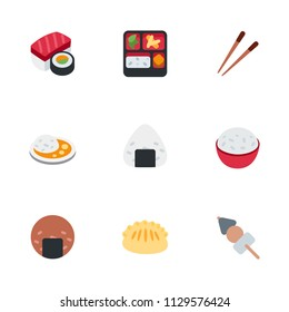Asian cuisine foods icons collection, vector illustration flat style dishes symbols set, pack.