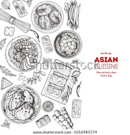 Asian Cuisine Sketch Collection Hand Drawn Vector Il Ration Food Menu Design Template Engraved Elements Asian Food Set Vector