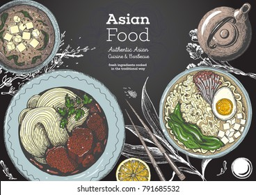 Asian cuisine top view, colored dish set. Vintage food menu design template. Colorful vector illustration. EPS 10