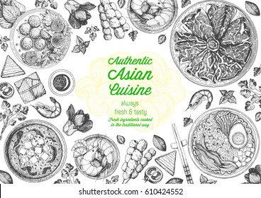 Asian cuisine top view frame. Food menu design with noodles,ramen, shrimps, fish balls and wagyu. Vintage hand drawn sketch vector illustration.