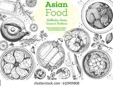 Asian cuisine top view frame. Food menu design with noodles, soup miso, dumplings shrimps and rolls. Vintage hand drawn sketch vector illustration.