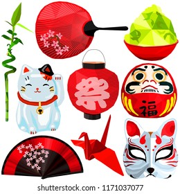 Asian culture set colorful low poly designs isolated on white background. Vector japanese stuff illustration. Collection of local Japan traditional celebrations and everyday things in modern style.