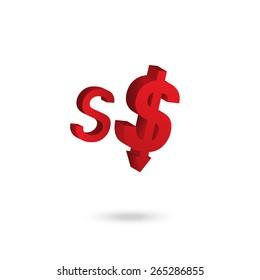 Asian currency symbol weakened concept design: Singapore Dollar
