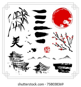 Asian decorative elements on white background. Black hieroglyph translated as Beauty. Red stamp meaning Happiness or Blessing. Rough hand drawn style. Traditional oriental symbols. Vector illustration