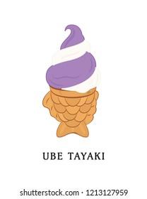 Asian Dessert Japanese Traditional Fish Taiyaki Ube Vanilla Ice Cream Illustration Background
