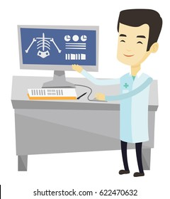 Asian doctor examining a radiograph. Doctor looking at a chest radiograph on computer screen. Doctor observing a skeleton radiograph. Vector flat design illustration isolated on white background.