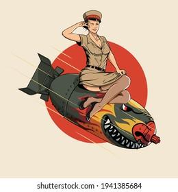 Asian Dragon Bomb WW2 pin up girl illustration vector