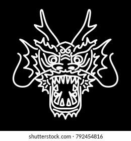 Asian dragon head illustration. Ethnic dragon head t-shirt design.