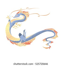 Asian dragon. Symbol of the 2024 year. Vector illustration.