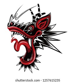 Asian dragon's face illustration (black)