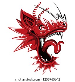 Asian dragon's face illustration (red)