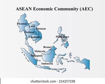 Asian Economic Community, Association of Southeast Asian�s map vector