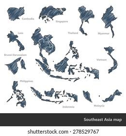 Asian Economic Community, Association of Southeast Asia map doodle ,vector Illustration