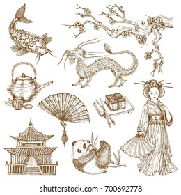Asian elements hand drawn monochrome set with sakura and dragon pagoda girl in kimono isolated vector illustration