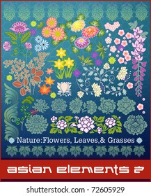Asian Elements series #2: Nature: leaves, flowers, and grasses