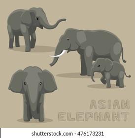 Asian Elephant Cartoon Vector Illustration