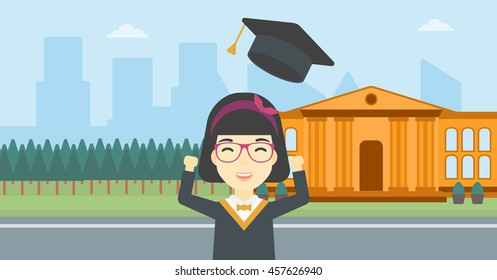 An asian excited graduate in cloak and graduation hat. Graduate throwing up her hat. Graduate celebrating on a background of educational building. Vector flat design illustration. Horizontal layout.