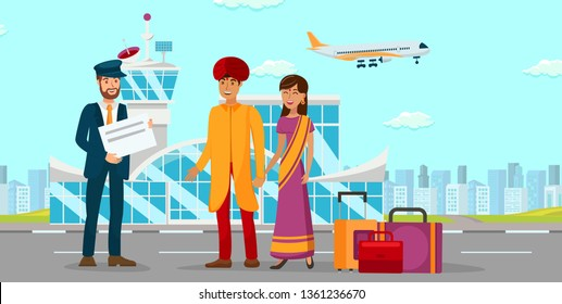 Asian Family at Airport Flat Color Illustration. Man in Turban and Woman in Sari Dress Cartoon Characters. Chauffeur Waiting for Indian Clients. Couple Trip, Travel, Overseas Vacation