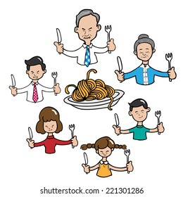 Asian family meal together cartoon