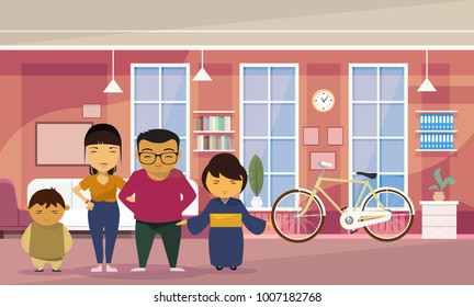 Asian Family In Living Room Stock Illustrations, Images & Vectors ...