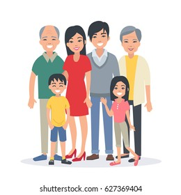 Asian family portrait with children, parents, grandparents. Flat style vector illustration isolated on white background.