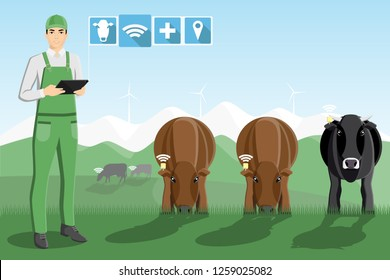 Asian farmer with digital tablet on a pasture. Digital technology in animal husbandry.  Vector illustration