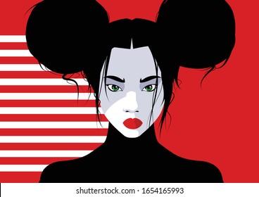 Asian fashion woman in style pop art. Vector illustration