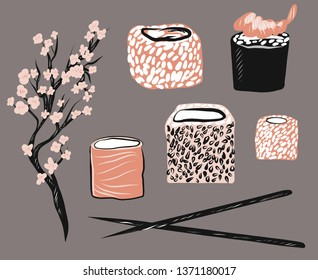 Asian fastfood vector illustration set. Graphic Isolated objects on white background. Rolls, sticks, sacura.