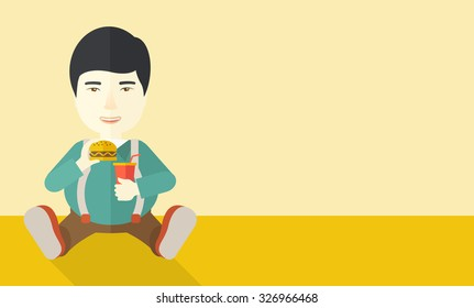 An asian fat man sitting on the floor while eating hamburger and drinking soda vector flat design illustration. Horizontal layout with a text space for a social media post.