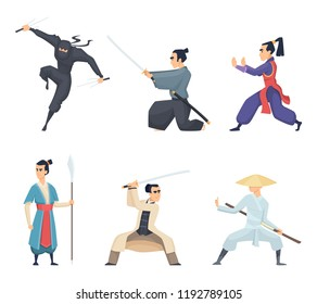 Asian fighter. Man holding katana traditional japan weapon sword samurai ninja vector characters isolated. Samurai japanese with katana, asian fighter illustration