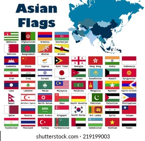 Asian flag set in alphabetical order, with an editable map.