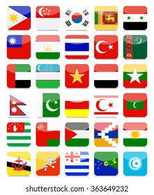 Asian Flags Flat Square Icon Set 2.All elements are separated in editable layers clearly labeled.