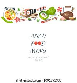 Asian food background horizontal menu dishes chinese traditional cuisine japanese thai frame background border