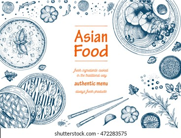 Asian food background. Asian food poster. Asian food frame menu restaurant. Asian food sketch menu.Vector illustration