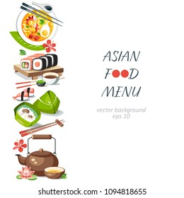 Asian food background vertical menu dishes chinese traditional cuisine japanese thai frame background border