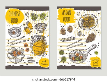 Asian food brochure flyer design. Chinese cuisine. Retro background. Hand drawn vector illustration. Can be used for street festival, shop, menu, cafe, restaurant, poster, banner, sticker.