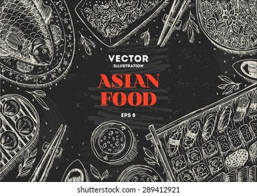 Asian Food Chalk Board Frame. Linear graphic. Vector illustration