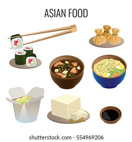 Asian food. Collection of traditional national asian dishes on white. Oriental cuisine web banner. Vector illustration of sushi with long sticks, ramen soup, kind of pottage, meal in carton box.