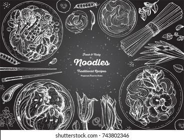 Asian food engraved sketch. Noodle dishes top view frame. Food menu design with cooked noodles . Vintage hand drawn sketch vector illustration. Asian cuisine menu background.