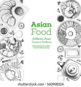 Asian food frame. Design template with bibimbap, oden, shrimps and tonkatsu. Vector illustration.