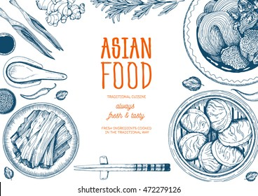 Asian food frame. Linear graphic. Vector illustration