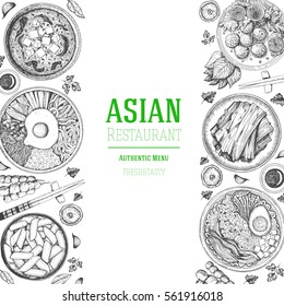 Asian food frame. Menu design template with bibimbap, miso soup, kimchi and tteokbokki. Vector illustration