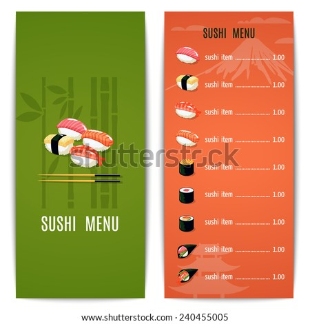 Asian Food Japanese Restaurant Menu Design Stock Vector Royalty