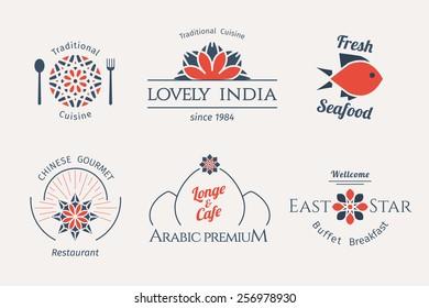 Asian food logo templates set. Vector ethnic ornamental design for restaurants and cafes.
