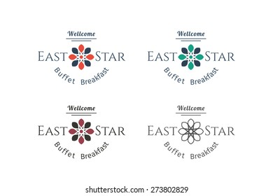 Asian food logo templates set. Vector ethnic ornamental design for restaurants and cafes.